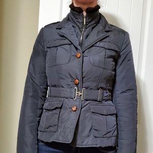 Max Mara down black leather jacket.